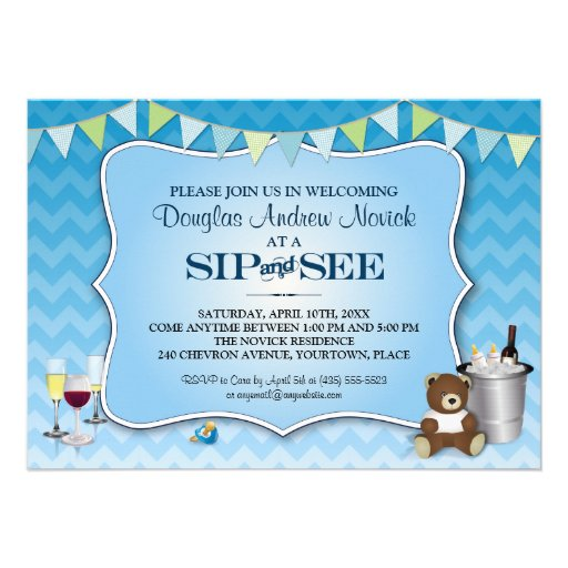 Blue Ombre Chevron Baby Sip and See Custom Invitations