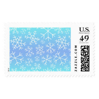 Blue Ombre Hand Drawn Snowflake Postage Stamps