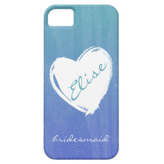Blue Ombre Heart Bridesmaid Phone Case