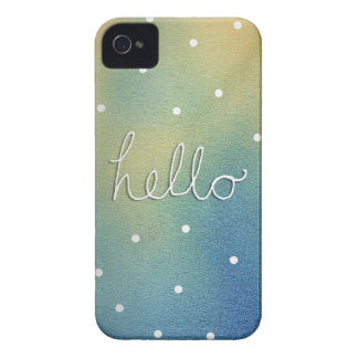 Blue ombre 'Hello' Case-Mate iPhone 4 Case