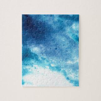 Blue Ombre Inkblot Splatter Watercolor Pattern Jigsaw Puzzle