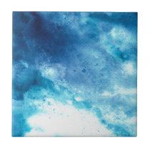 Blue Ombre Inkblot Splatter Watercolor Pattern Tile