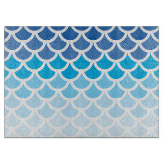 Blue Ombre Mermaid Scales Cutting Boards