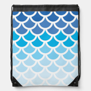 Blue Ombre Mermaid Scales Drawstring Bag