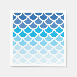 Blue Ombre Mermaid Scales Paper Napkin