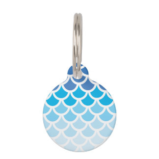 Blue Ombre Mermaid Scales Pet Name Tag