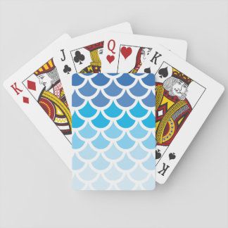 Blue Ombre Mermaid Scales Poker Cards
