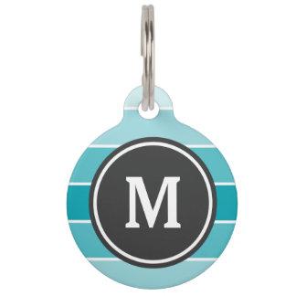 Blue Ombre Monogram Pet Tag