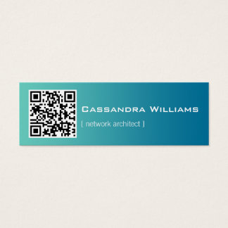 Blue Ombre QR CODE Mini Business Cards