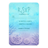 blue ombre sand dollar beach wedding RSVP cards