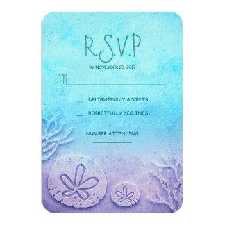 blue ombre sand dollar beach wedding RSVP cards