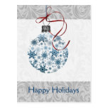 Blue Ombre snowflakes ornament Post Cards