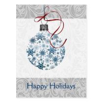 Blue Ombre snowflakes ornament Postcard