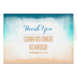 Blue ombre vanilla modern beach wedding thank you stationery note card