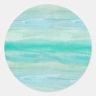 Blue Ombre Watercolor Wash Pattern Classic Round Sticker