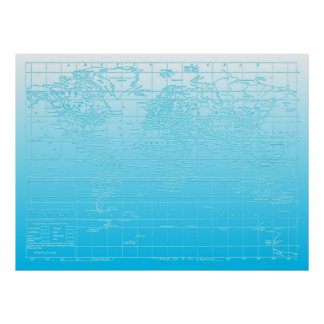 Blue Ombre World Map Poster