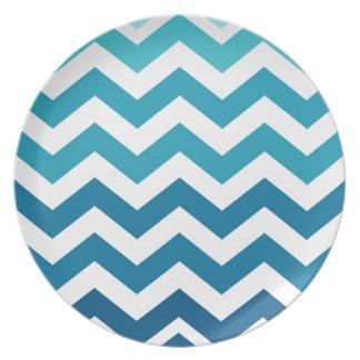 Blue Ombre Zigzags Melamine Plate