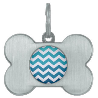Blue Ombre Zigzags Pet ID Tag