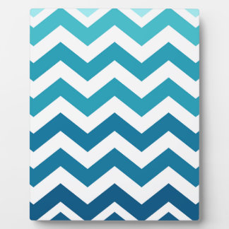 Blue Ombre Zigzags Plaque