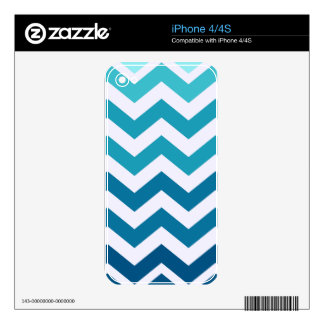 Blue Ombre Zigzags Skin For iPhone 4S