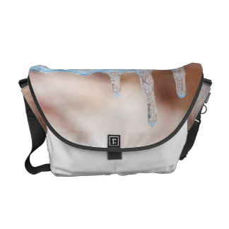 blue on an icy day messenger bags