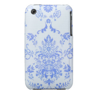 Blue on Baby Blue Damask  iPhone 3 BT Case iPhone 3 Case-Mate Case