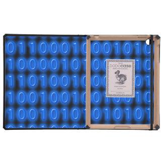 Blue on Black Binary Code iPad Covers