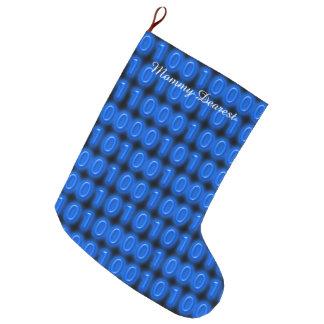 Blue on Black Binary Code Large Christmas Stocking
