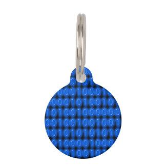 Blue on Black Binary Code Pet Tag