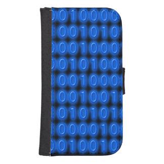 Blue on Black Binary Code Phone Wallet Case