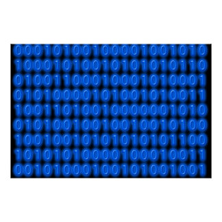 Blue on Black Binary Code Poster