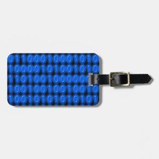 Blue on Black Binary Code Travel Bag Tags