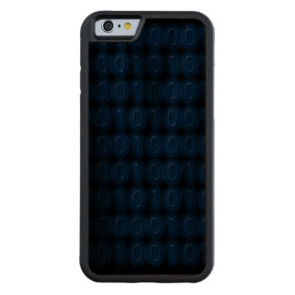 Blue on Black Binary Code Carved® Walnut iPhone 6 Bumper Case