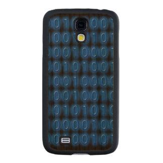 Blue on Black Binary Code Carved® Cherry Galaxy S4 Slim Case