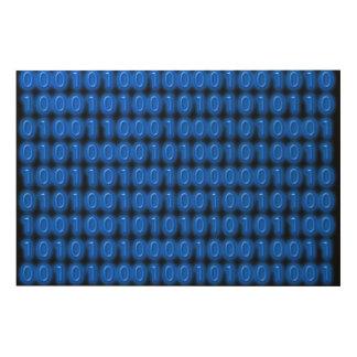 Blue on Black Binary Code Wood Wall Art