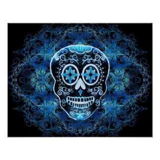 Blue on Black Calavera Print