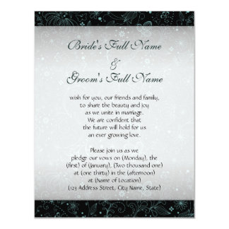 Blue on Black Floral Border Personalized Invitations