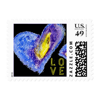 Blue on Black Love Heart Square Small Postage