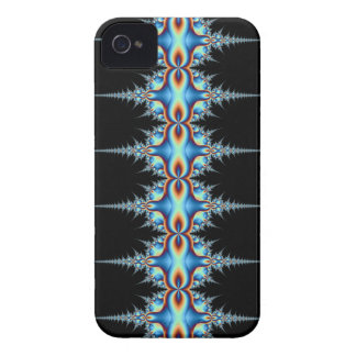 blue on black traditional batik fractal iPhone 4 case