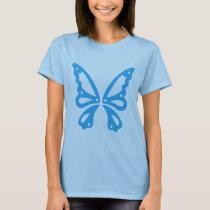 Blue On Blue Butterfly Women's T-Shirt