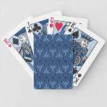 Blue on Blue Damask Pattern Deck Of Cards