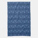 Blue on Blue Damask Pattern Hand Towel