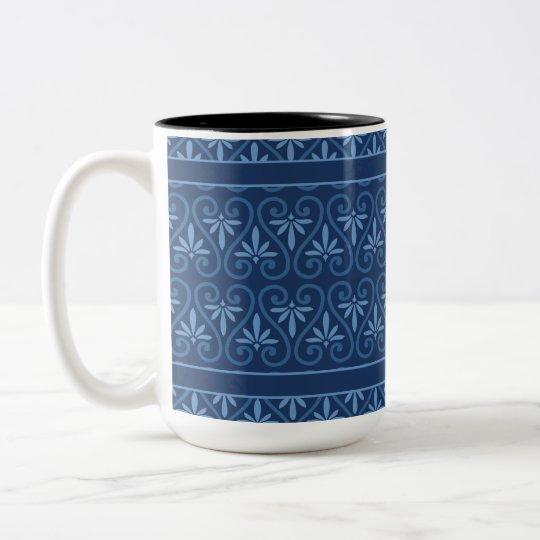 Blue on Blue Damask Pattern Two-Tone Coffee Mug