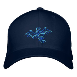 BLUE ON BLUE DRAGON EMBROIDERED BASEBALL HAT