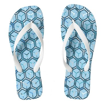 Beach Themed Blue On Blue Honeycomb Pattern Flip Flops