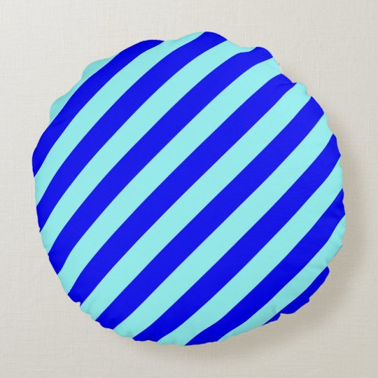 Round Blue Decorative Pillows : Blue on Blue - Light Angled Round Pillow Zazzle