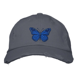 Blue on Blue Monarch Butterfly Embroidered Baseball Cap