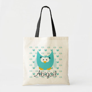 Blue on Blue Owl Personalized Tote Bag