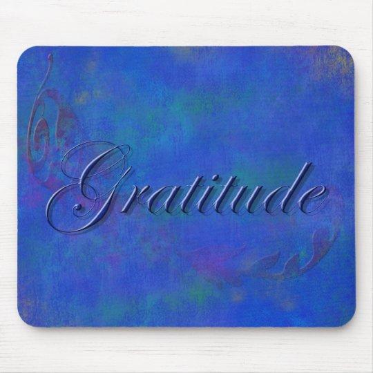 Blue on Blue Script Gratitude Mouse Pad
