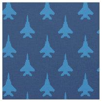 Blue on Blue Strike Eagle Fighter Jet Pattern Fabric